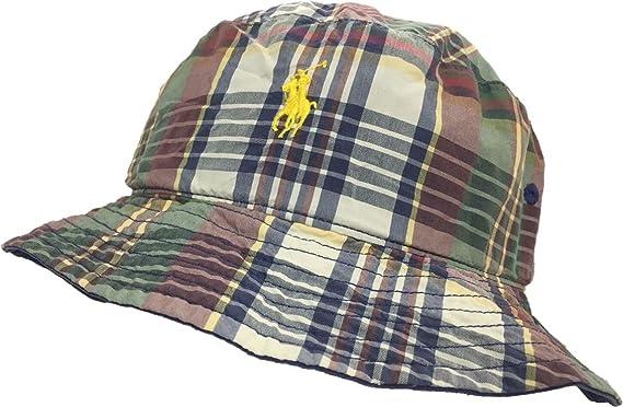 f42ba06dd969f POLO Ralph Lauren Reversible Navy-Check Plaid Small Pony Bucket Hat - Size  Small  Amazon.co.uk  Clothing