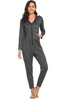 ede751df5c57 Ekouaer Onesies Thermal Underwears Christmas Union Jumpsuit One Piece Pajama  Hooded Sweatshirt Sleepwear for Women