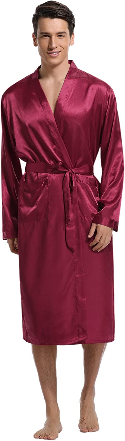 Aibrou Men's Satin Robe Long Bathrobe Lightweight Sleepwear