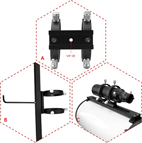 KESOTO 9X Magnification 50mm Aperture Guide Scope Star Finderscope with Adjustable Precise Aiming Mounting Bracket Silver for Astronomical Telescopes