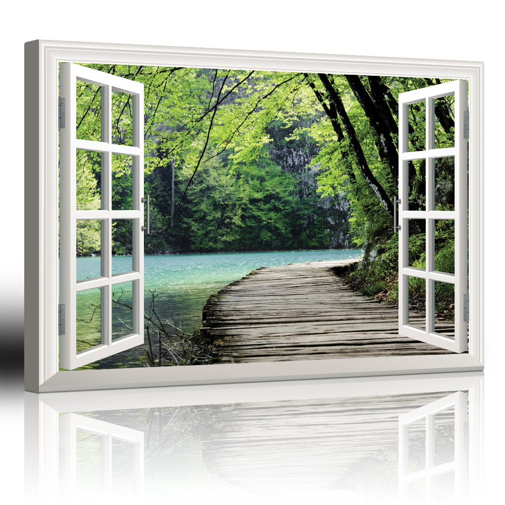 wall26 - Modern White Window Looking Out Into a Bridge by a Lake Surrounded by Trees - Canvas Art Home Decor - 24x36 inches