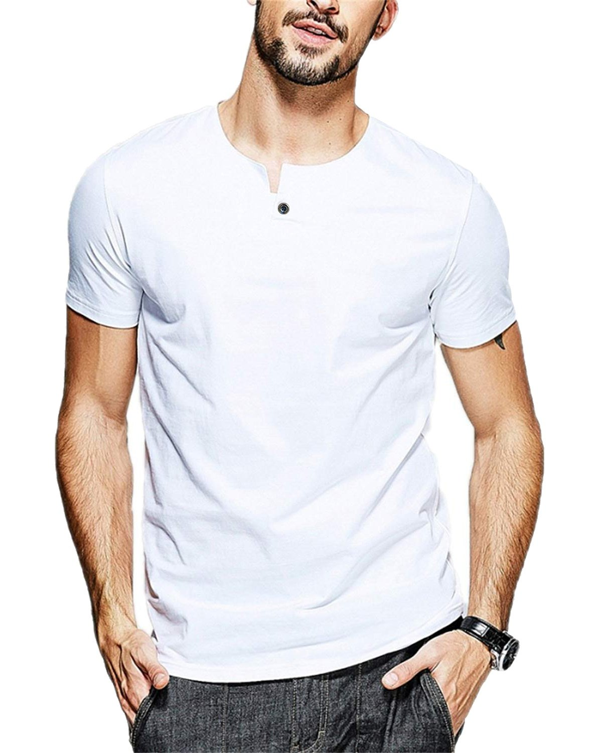 JNC 100% Cotton Mens Summer Casual Button Slim Fit Pure Color Short Sleeve Henley T-Shirts (Small, White)