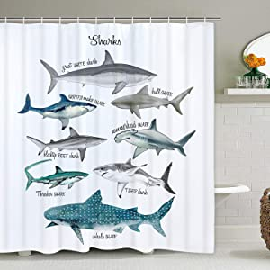 Likiyol Sharks Shower Curtain for Bathroom, Fish Shower Curtain with 12 Hooks Marine Theme Sealife Shower Curtain Waterproof Shower Curtain for Bathroom