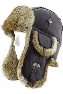 FUR WINTER Lamb Leather Rabbit Fur Aviator Outdoor Trapper Trooper Pilot  Ski Hat 45684d8b8d7