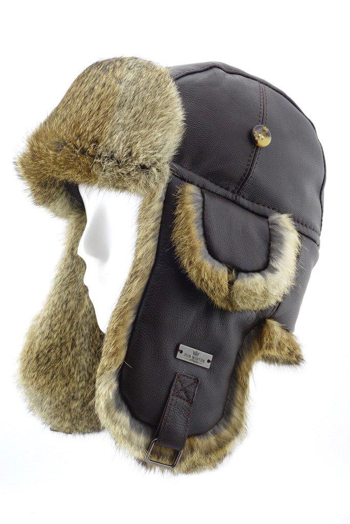 FUR WINTER Lamb Leather Rabbit Fur Aviator Outdoor Trapper Trooper Pilot Ski Hat BRN L