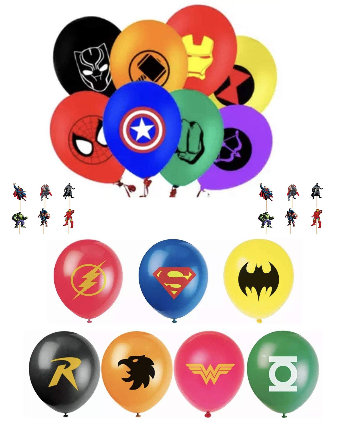 The Avengers and Justice League Superhero Emblem 15 Count Party Balloon Pack - Large 12'' Latex Balloons With 24 Cupcake Cake Pick