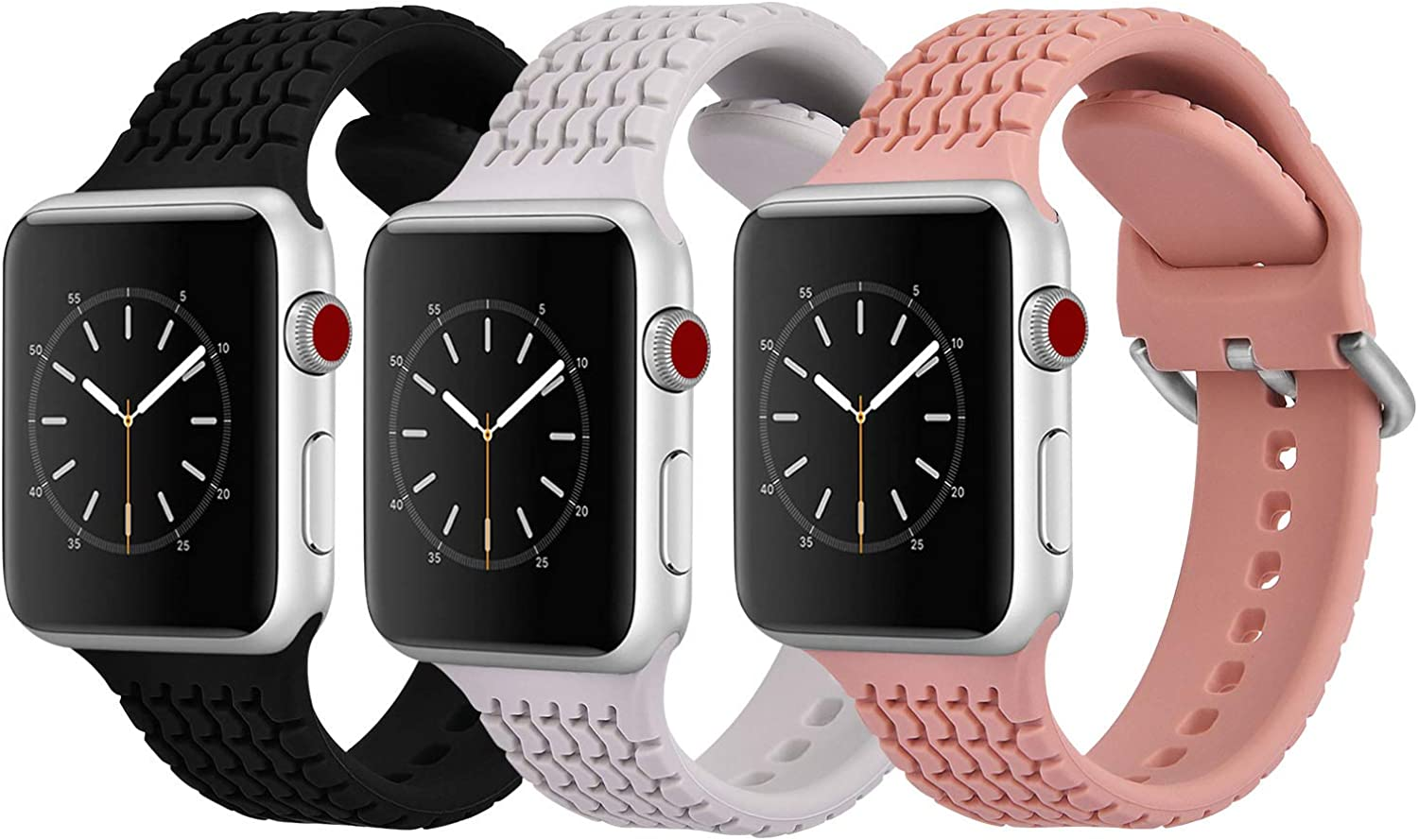 CAGOS Compatible with Apple Watch Bands 42mm 44mm Women Men, 3 Packs Sport Loop Waterproof Silicone Replacement Strap Wristband for iWatch Series 5/Series 4/3/2/1