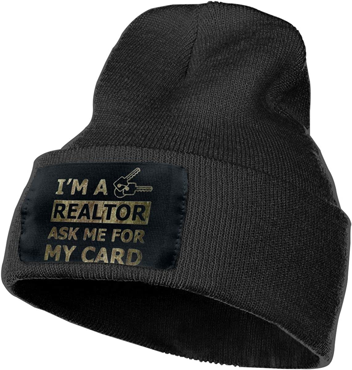 Real Estate Realtor Card Winter Warm Hats,Knit Slouchy Thick Skull Cap Black