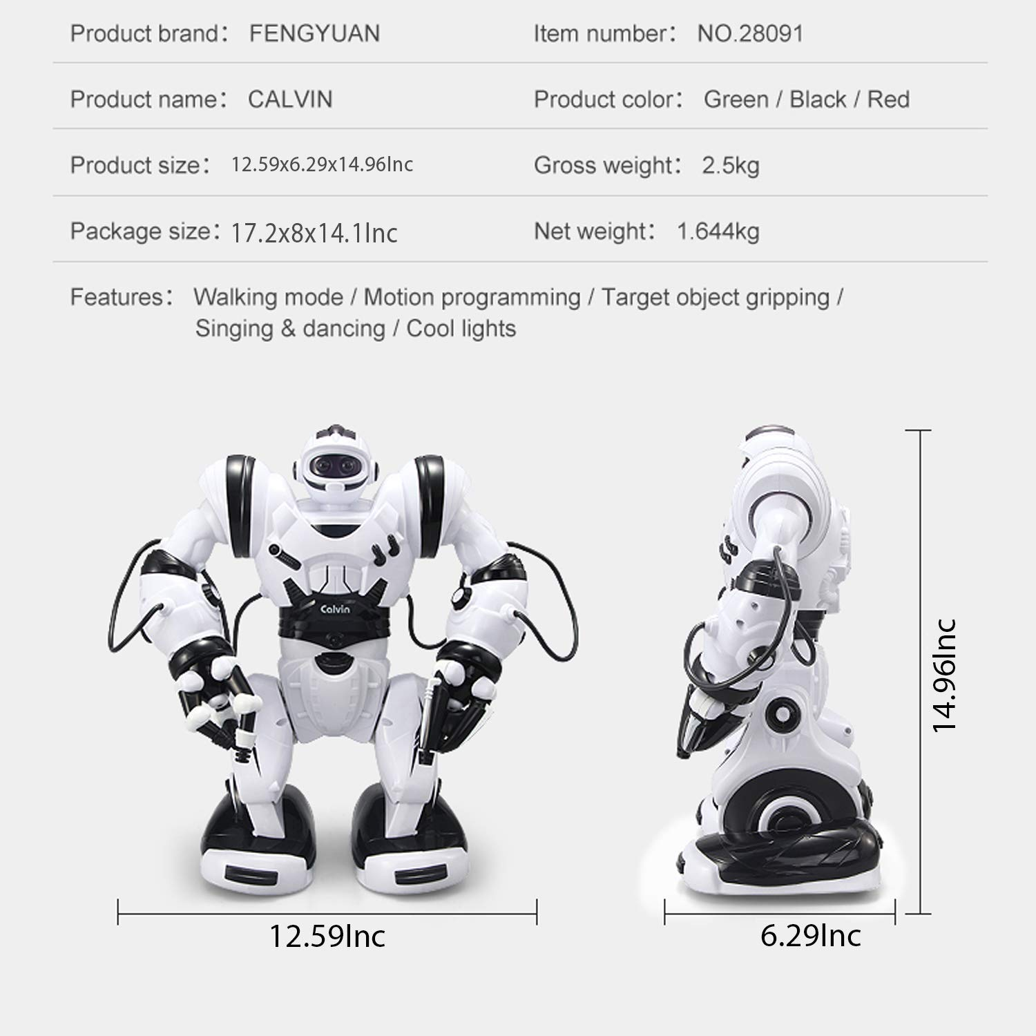 YARMOSHI Remote Control Smart Robot Toy - Big Calvin, Flexible Moving Body, Whirls, Dances. Fun Gift for Girls and Boys Age 5+. by YARMOSHI (Image #7)