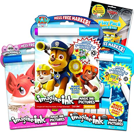 Amazon.com: Paw Patrol Imagine Ink Coloring Book Set For Toddlers Kids -- 3  Magic Ink Books Featuring Paw Patrol, Thomas The Train, Hatchimals With  Invisible Ink Pens And Stickers (Mess Free Coloring):