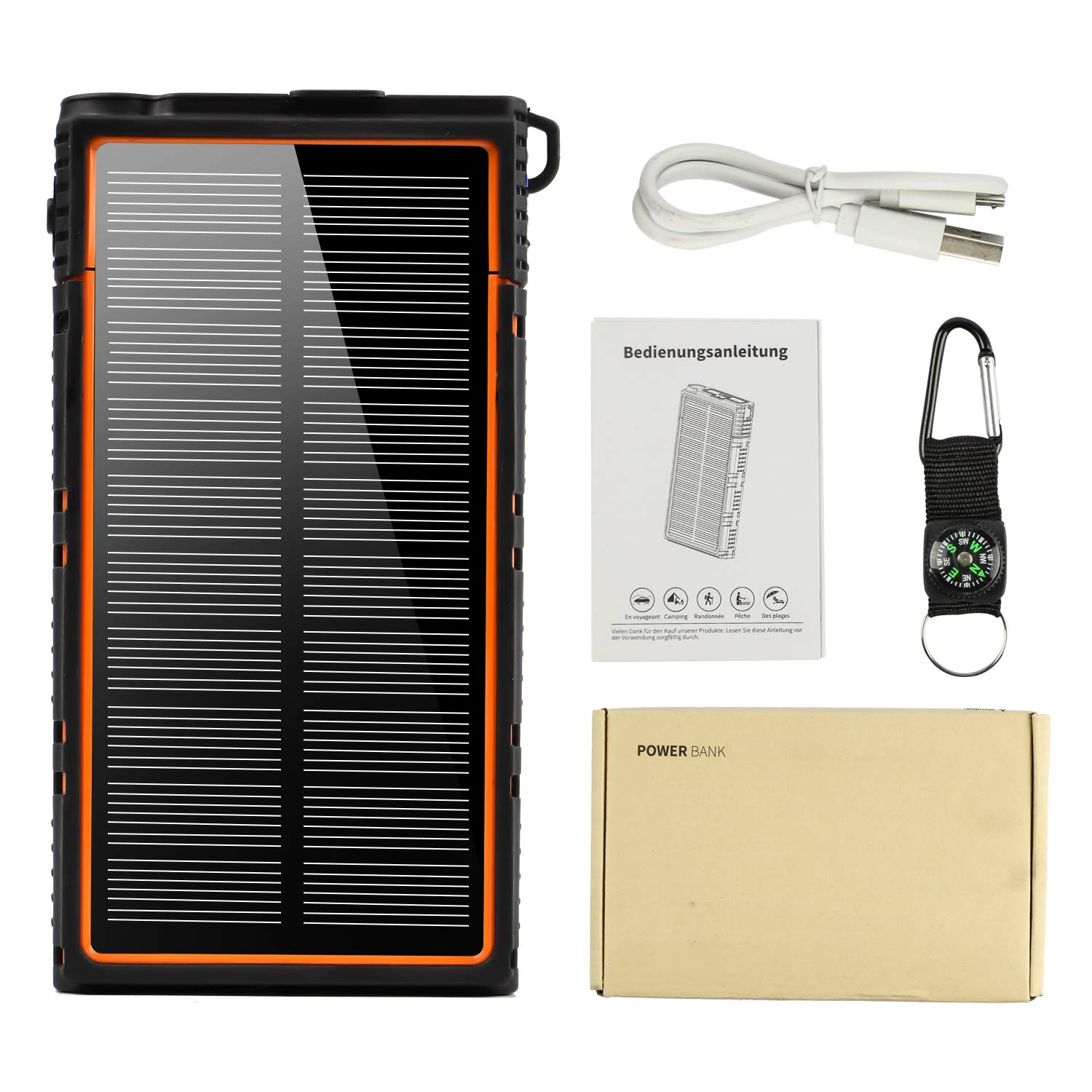 soyond Solar Power Bank-15000 mAh Portable Solar Battery Phone Charger Dual USB Waterproof 2 Led Light Flashlight with Compass for Camping Outdoor Hiking for Smartphones (Orange) by soyond (Image #7)