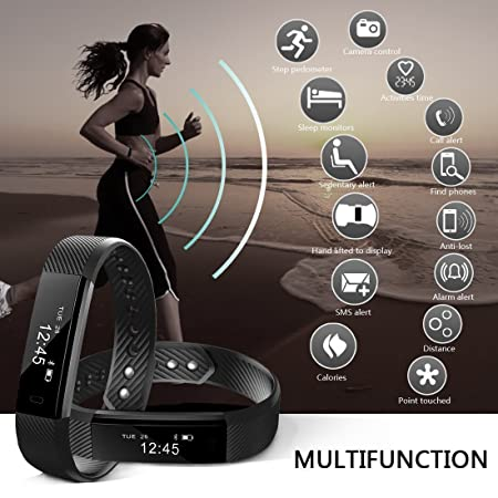 CurioCity V2 Bluetooth Smart Band with Fitness Tracker, Step Tracker Pedometer Bluetooth Bracelet Activity Tracker Sleep Monitor, Calories, Weatherproof Fitness Band for all iPhone Android phones