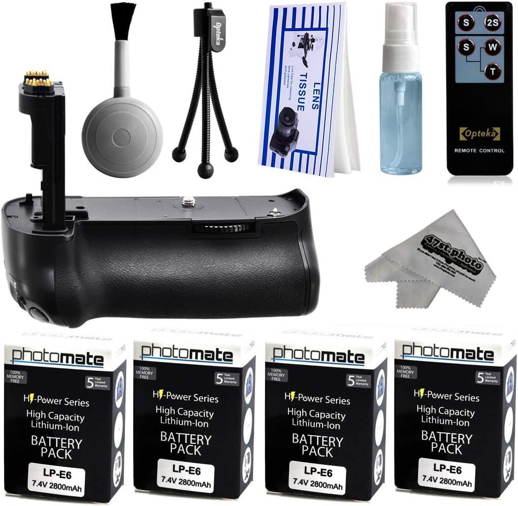 Multi Power battery Grip + (4 Pack) Ultra alta capacidad LP-E6 LPE6 batería de repuesto (2800 mAh) para impresiones + lente Kit de limpieza para Canon EOS 5DM3 5dmiii 5DMark 5dmark3 5d