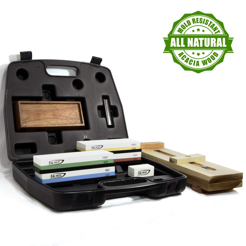 Sha-Pu Whetstone Set and Acacia Wood Sink Bridge Bundle- Premium Knife Sharpening Tools