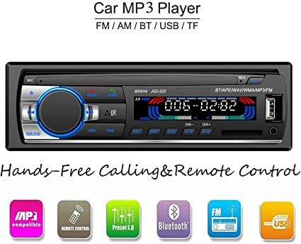 LSLYA Lecteur MP3/WMA De Voiture Écran TFT Radio FM AM Coche 4 Haut-Parleur Support Vidéo USB/SD/MMC ID3 Affichage Avec Bluetooth Main Libre Appel Et Intégré EQ + Télécommande + Volant Principales Dominer