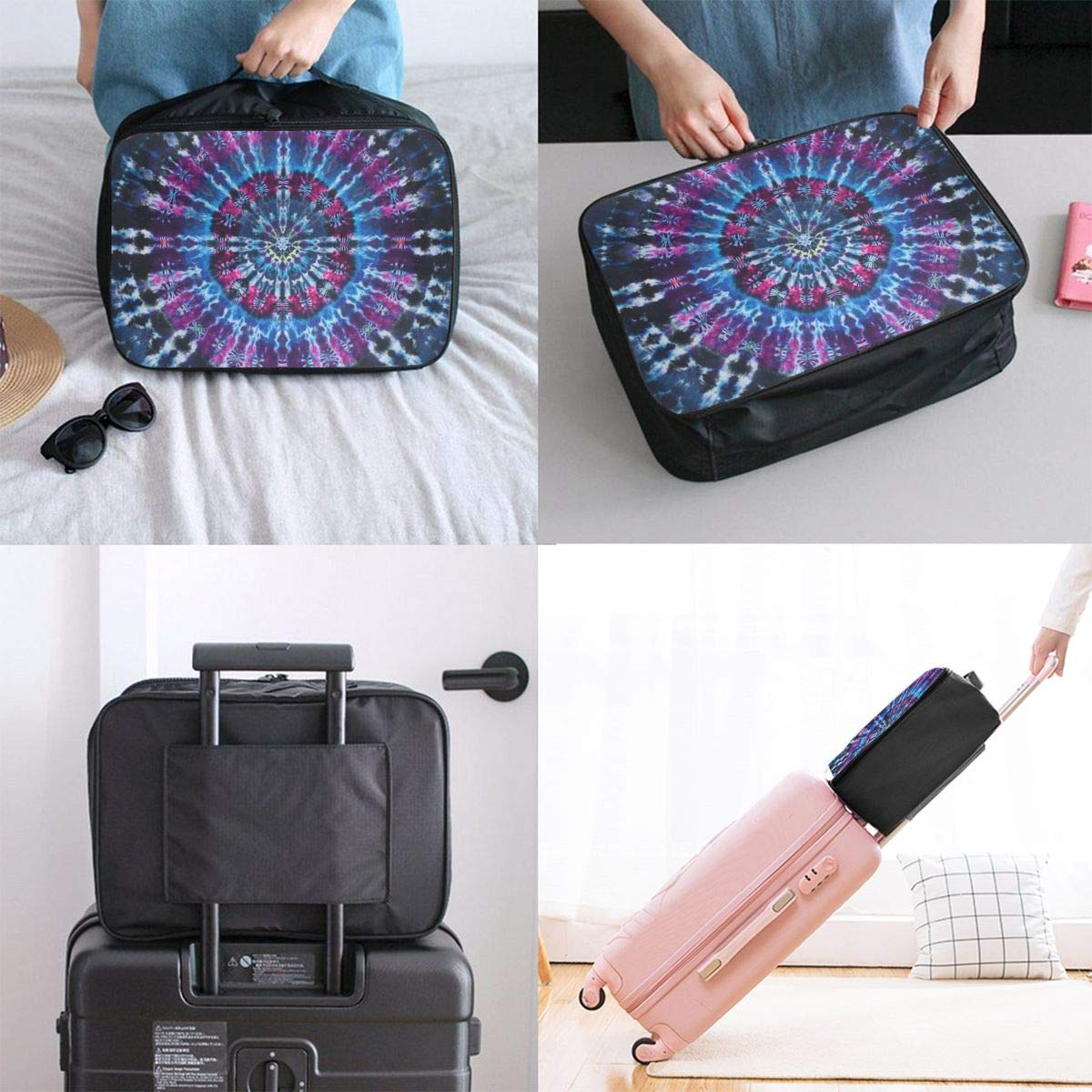 ADGAI Circular Visual Canvas Travel Weekender Bag,Fashion Custom Lightweight Large Capacity Portable Luggage Bag,Suitcase Trolley Bag