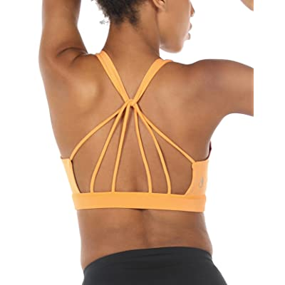 icyzone Padded Strappy Sports Bra Yoga Tops Activewear Workout Clothes for Women at Women's Clothing store