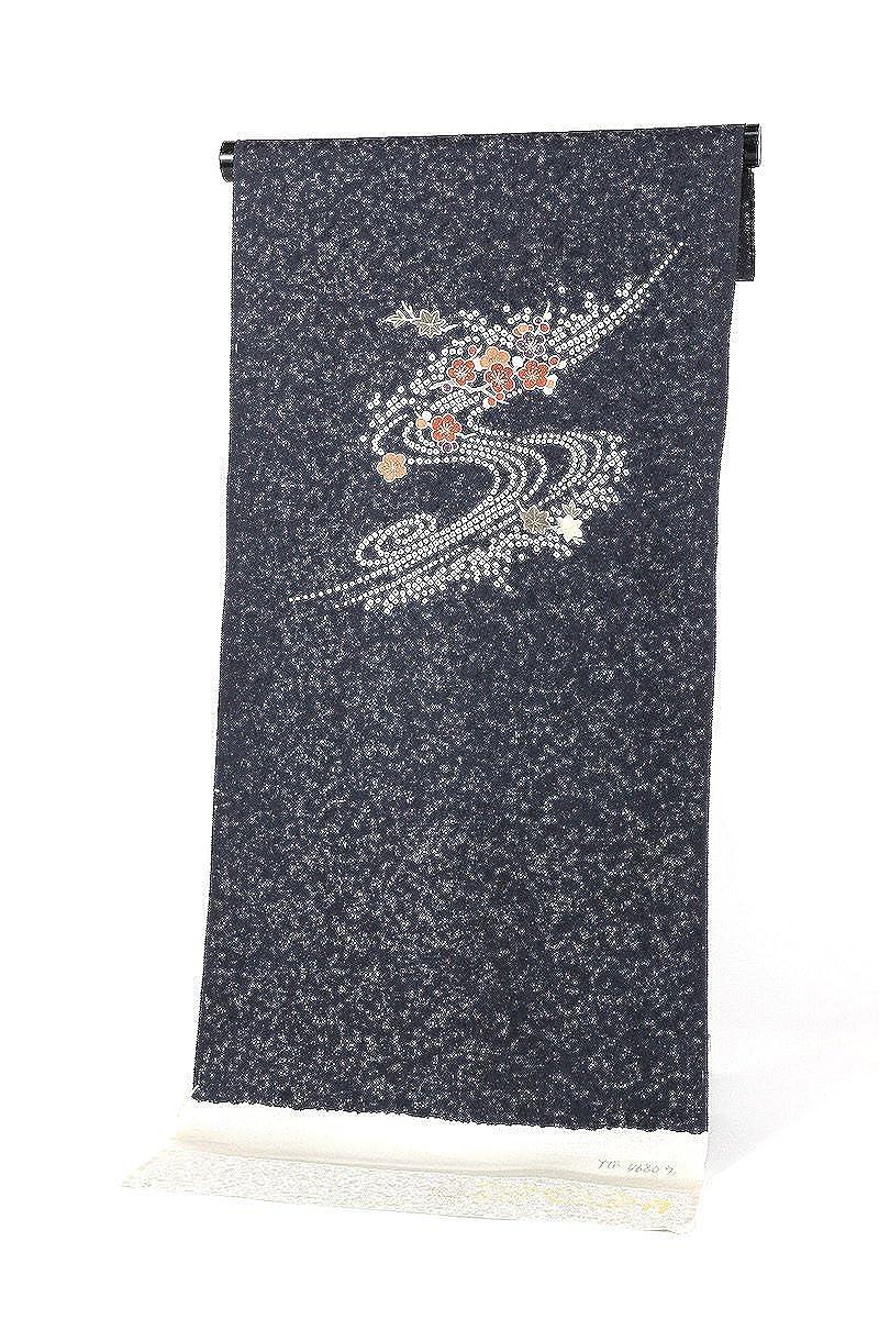 正絹附下げ着尺 黒×白×赤 付け下げ 日本製 丹後ちりめん   B07BQN67PH