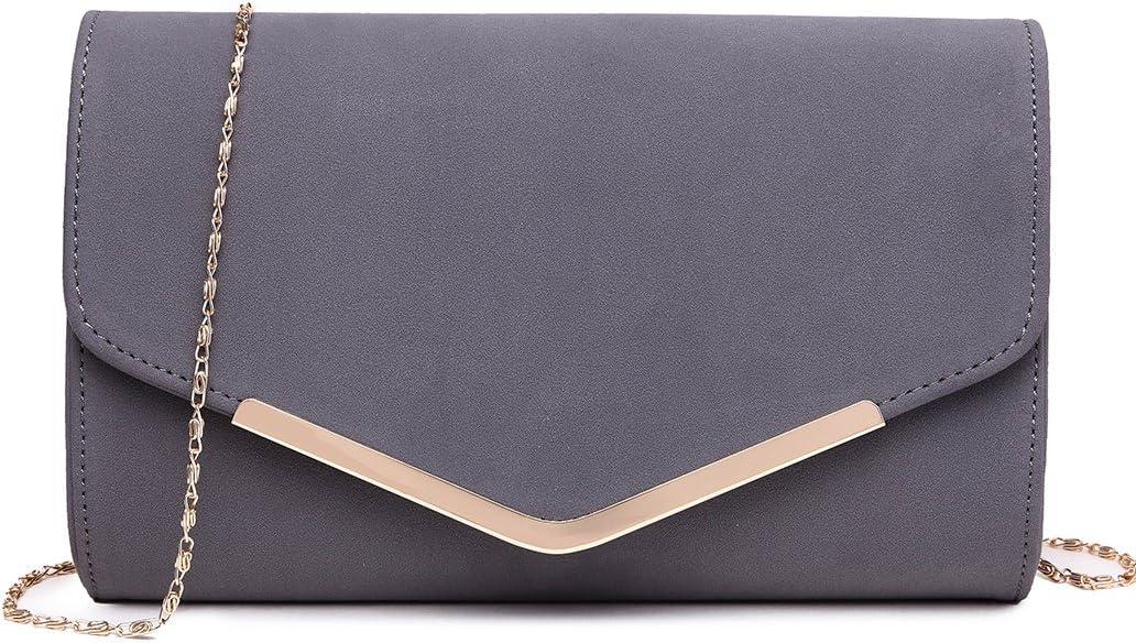 Miss Lulu Elegante Kettentasche Damen Tasche Clutch Bag Handtasche Hochzeit Abendtasche Umhängetasche Mädchen (LH1756 Grau): Amazon.de: Koffer - Handtasche klein