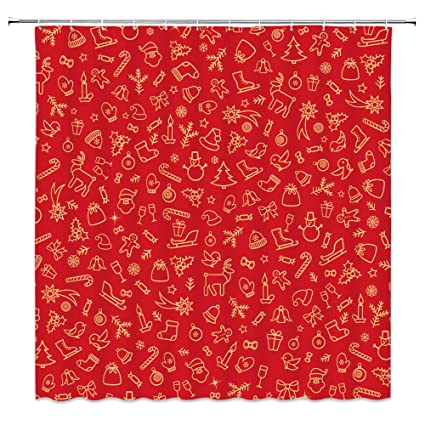 Amazoncom Amfd Merry Christmas Shower Curtain Red Stick Figure
