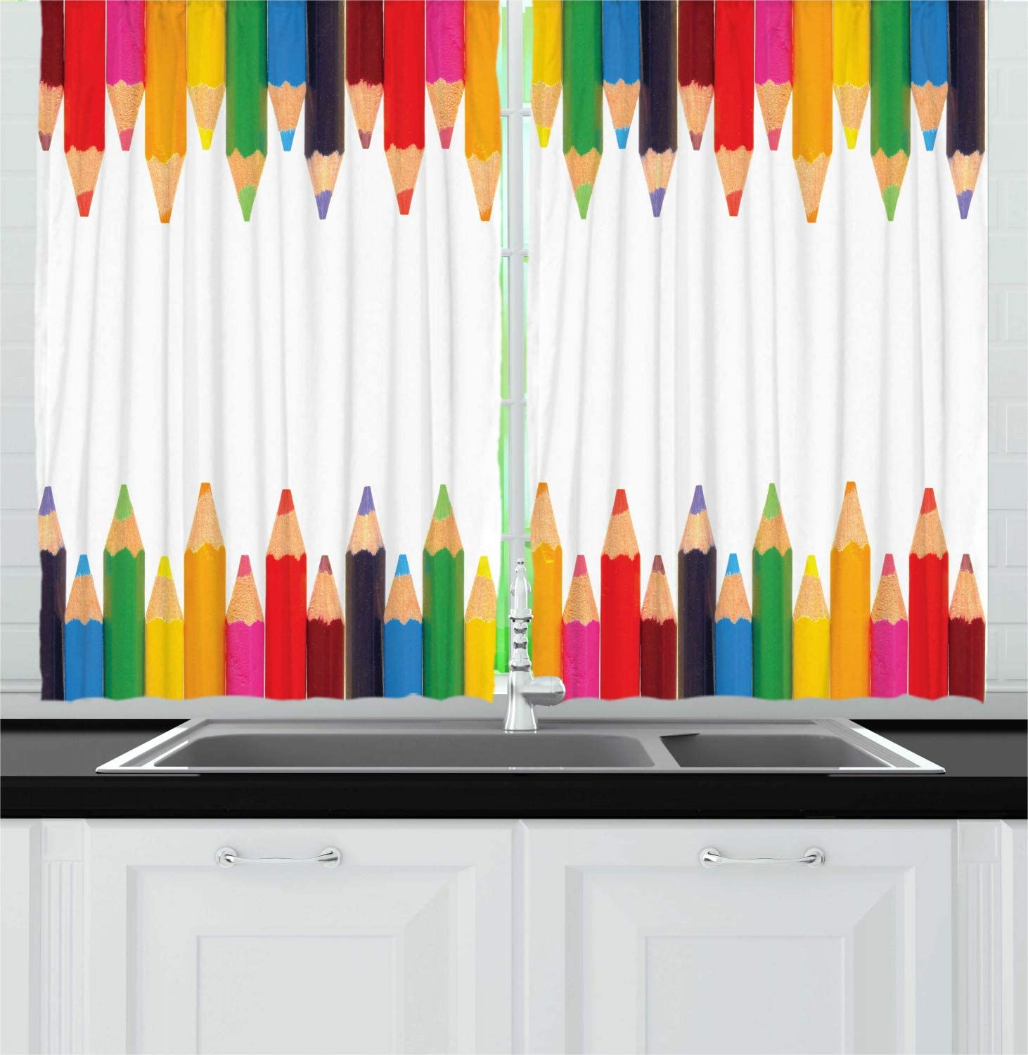 """Lunarable Back to School Kitchen Curtains, Coloured Pencils Children Painting Theme Primary School Creativity ABC Print, Window Drapes 2 Panel Set for Kitchen Cafe Decor, 55"""" X 39"""", Rainbow Colors"""