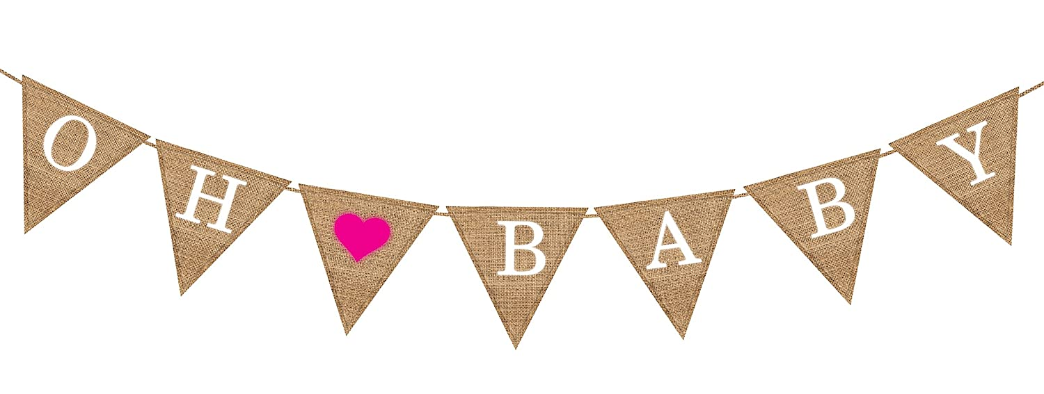 Baby Shower Banner Amazoncom Baby Shower Decorations Oh Baby Girl Burlap Banner