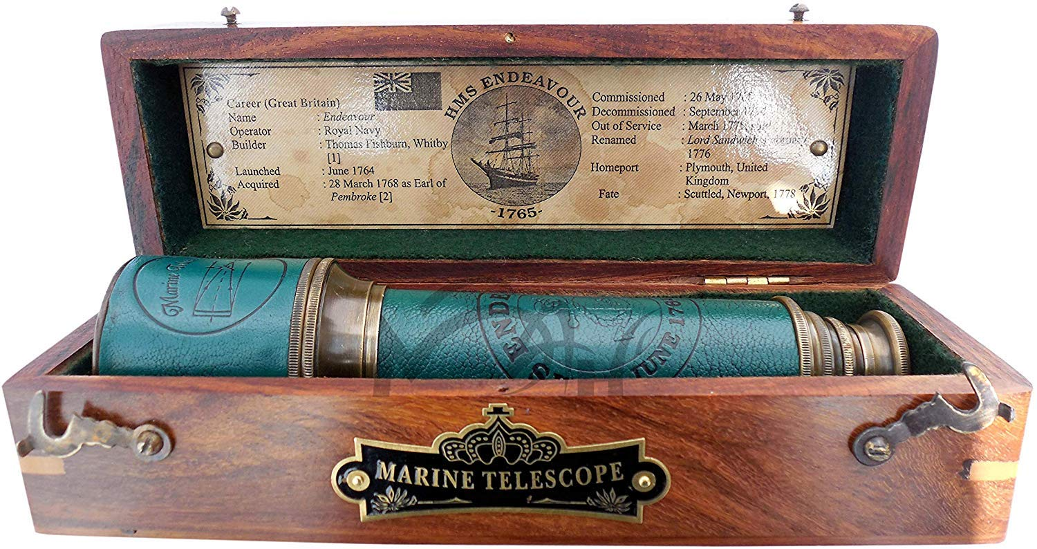MAH 18 Inch Brass Ship Captain Telescope/Brass Spyglass with Hardwood Box. C-3261 by MAH