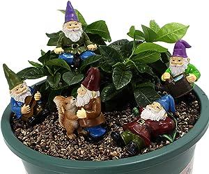 Kaadlawon 5 Pcs Miniature Gnome Figurines,Fairy Garden Accessories Outdoor,Mini Gnome Fairy Gardens Decoration Flower Pots Ornaments