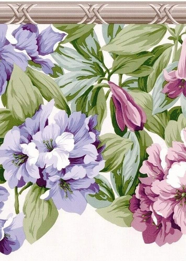 Yellow Purple Flowers Floral Green Dundee Deco BD6168 Prepasted Wallpaper Border Vines Scalloped Wall Border Retro Design 4.57m x 16.51cm 15 ft x 6.5 in