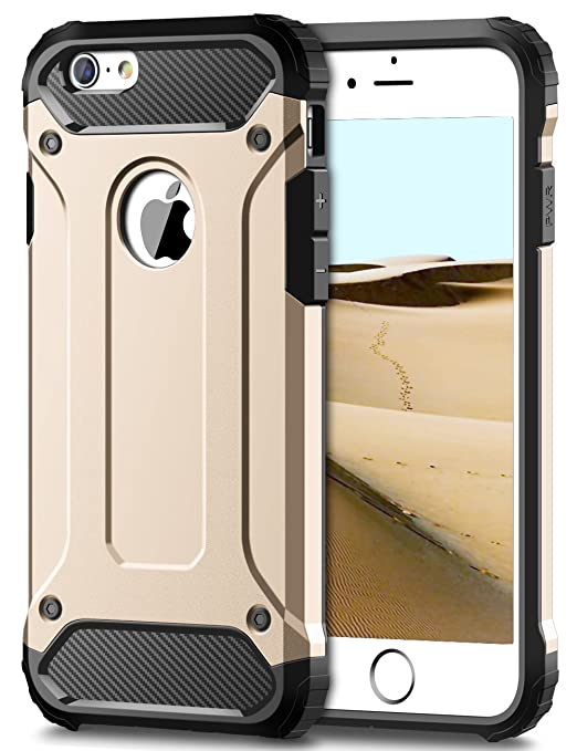 6 opinioni per iPhone 6S Cover,Coolden® Oro Shock-Absorption Hybrid Dual Layer Hard PC + Soft