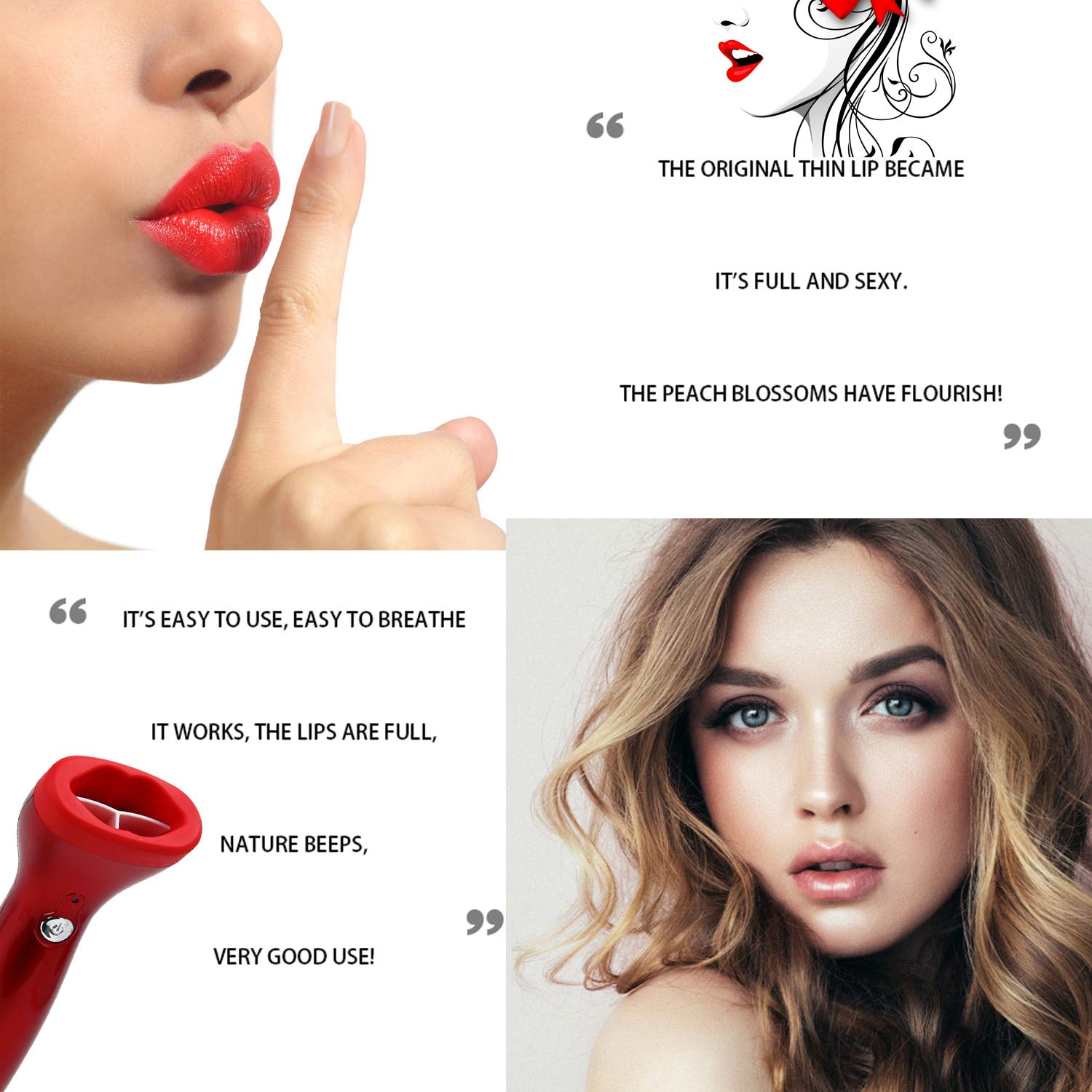 Red Electric Lip Plumper Automatic Lip Plumpering Device 3 Suction Power Type Lip Thicker Tool by Aldalife (Image #6)