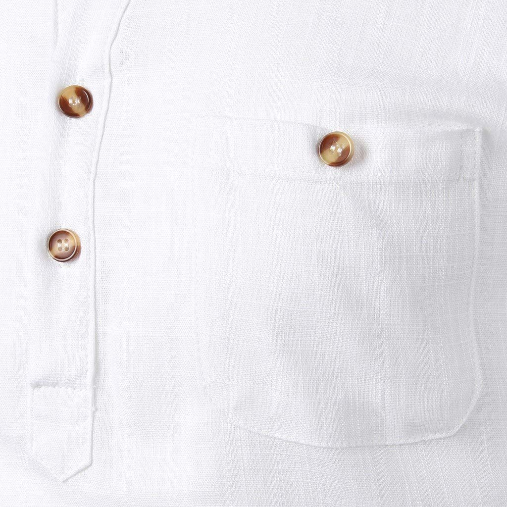 Infidev Mens Solid Cotton Linen Long Sleeve Button Casual T-Shirts Blouses with Pockets