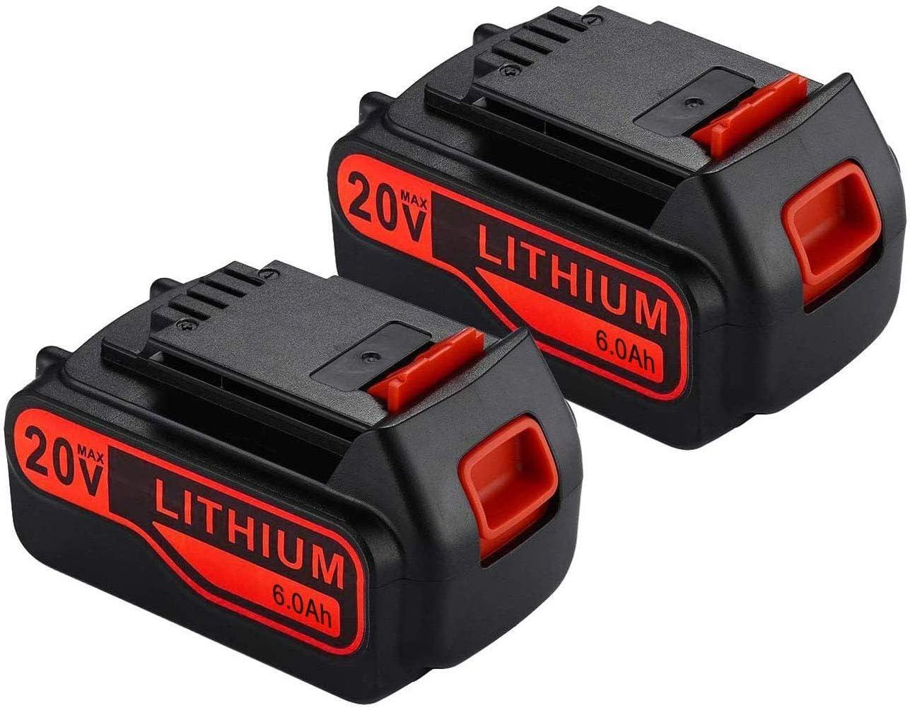 2Pack LBXR20 6.0Ah 20V MAX Replacement Battery for Black and Decker 20V Lithium Battery LBXR20 LBXR20-OPE LB20 LBX20 LBX4020 LB2X4020-OPE