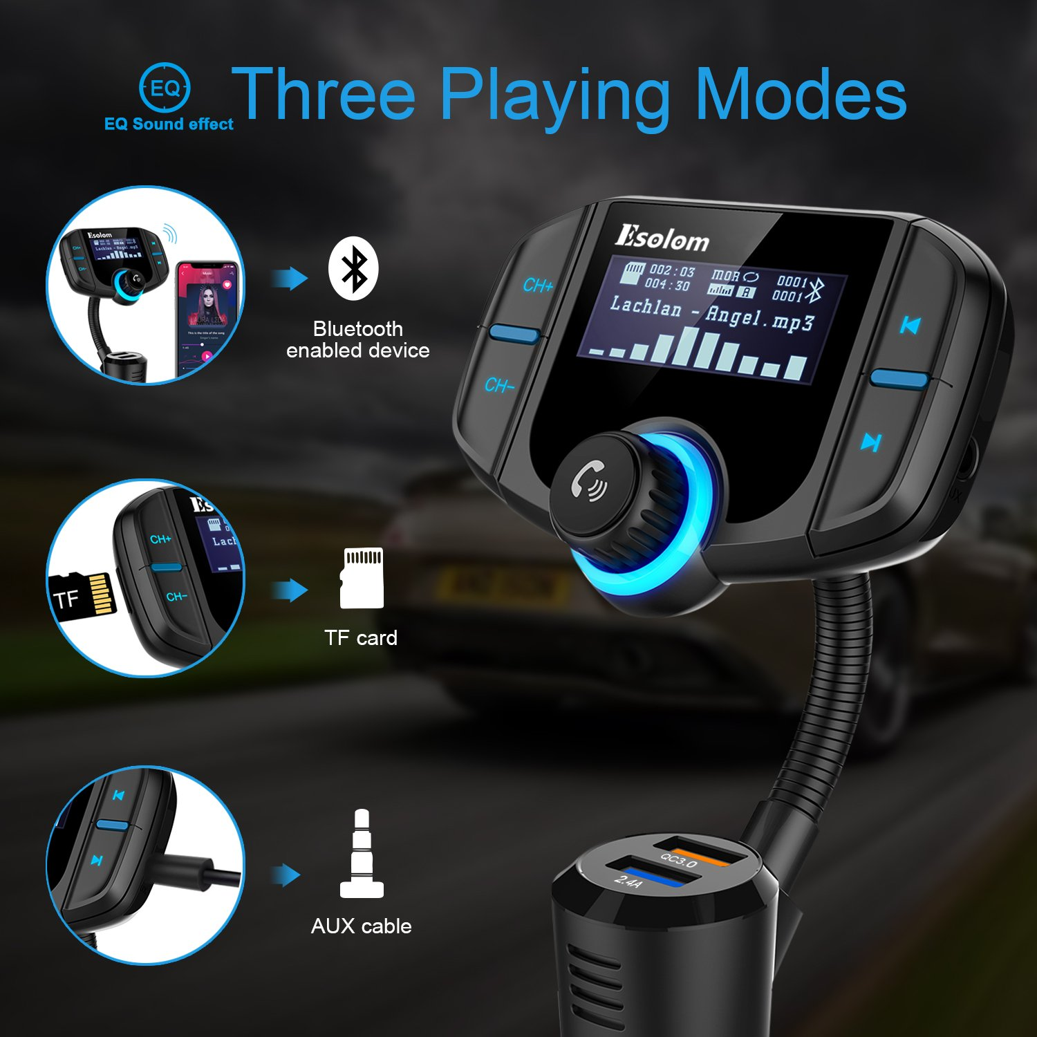 """Bluetooth FM Transmitter, ESOLOM Wireless Car Stereo Radio Adapter Receiver, Hands-free Calling Car Kit with 1.7"""" Display, QC3.0 & Smart 2.4A Dual USB Ports, Support TF Card, AUX Input/Output by ESOLOM (Image #3)"""
