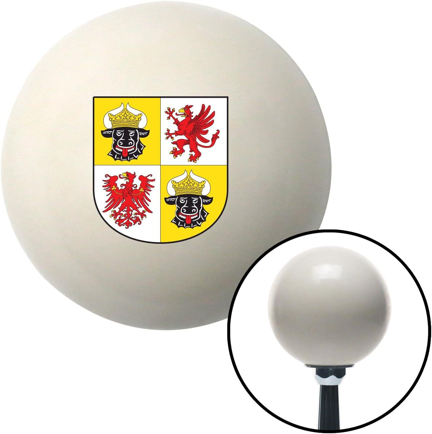 Mecklenburg Western Pomerania Coat of Arms American Shifter 76119 Ivory Shift Knob with M16 x 1.5 Insert