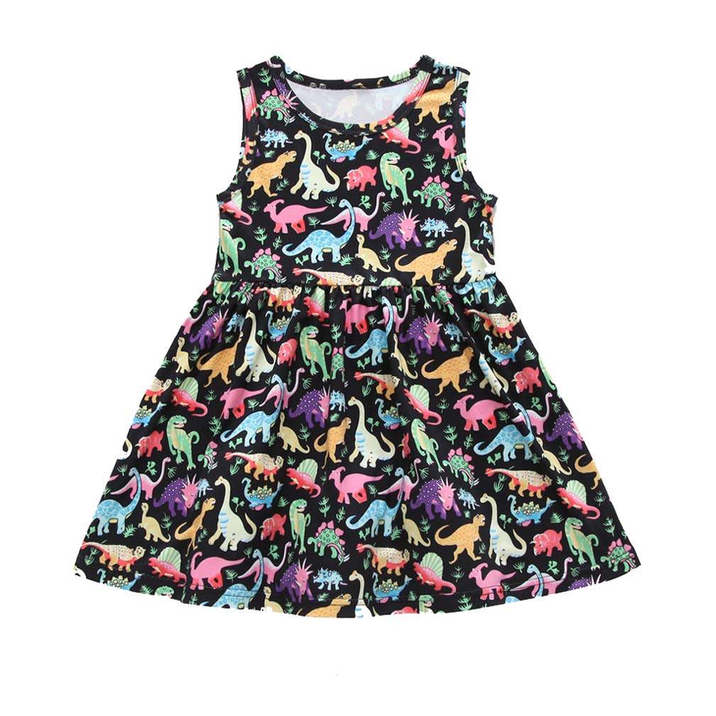 Infant Kids Girls Summer Sleeveless Dress Dinosaur Print A Line Midi Beach Party Casual Daily Dresses Clothes (Black, 12-18 Months)