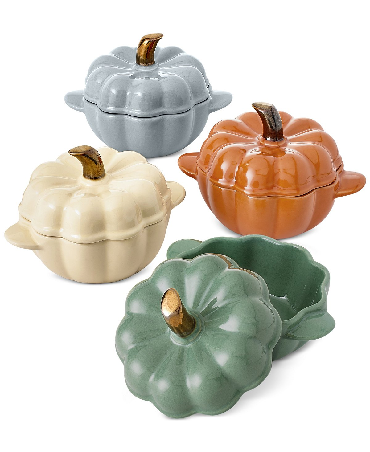 4-Pc. Ceramic Pumpkin Cocotte Set Martha Stewart