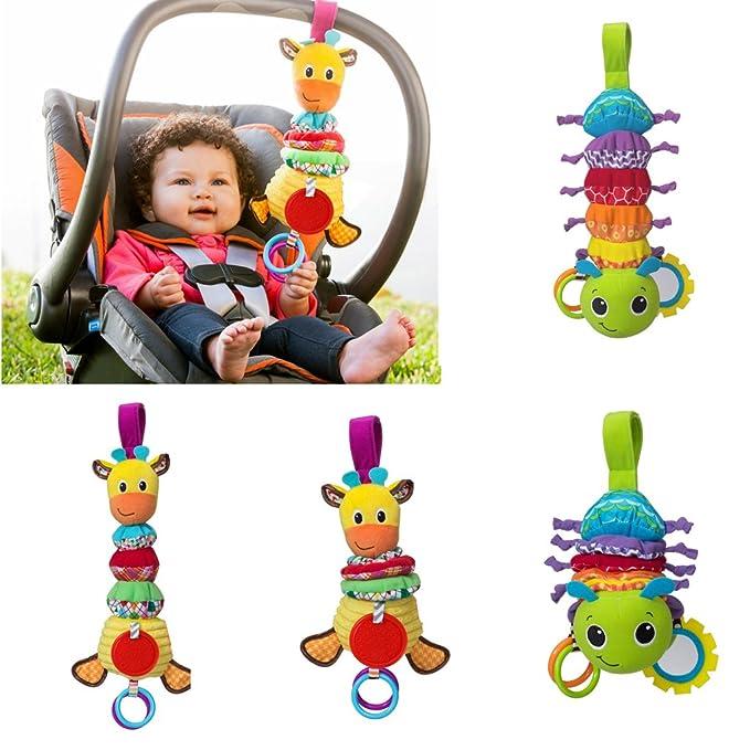 Fun Baby Pram Hanging Bell Rattle Teether Musical Crib Stroller Plush Animal Toy