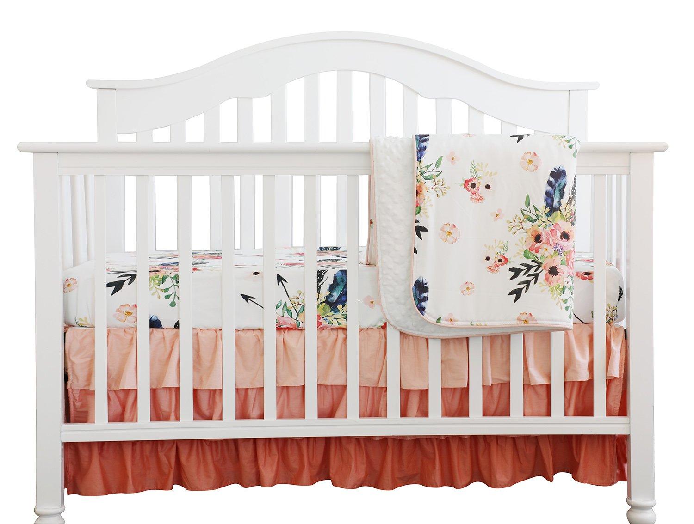 Boho Coral Feather Floral Ruffle Baby Minky Blanket Peach Floral Nursery Crib Skirt Set Baby Girl Crib Bedding Feather Blanket (Feather Floral 3pc Set) Sahaler