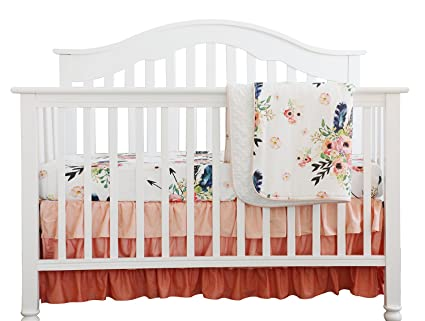 Floral Nursery Bedding Beauteous Amazon Boho Coral Feather Floral Ruffle Baby Minky Blanket
