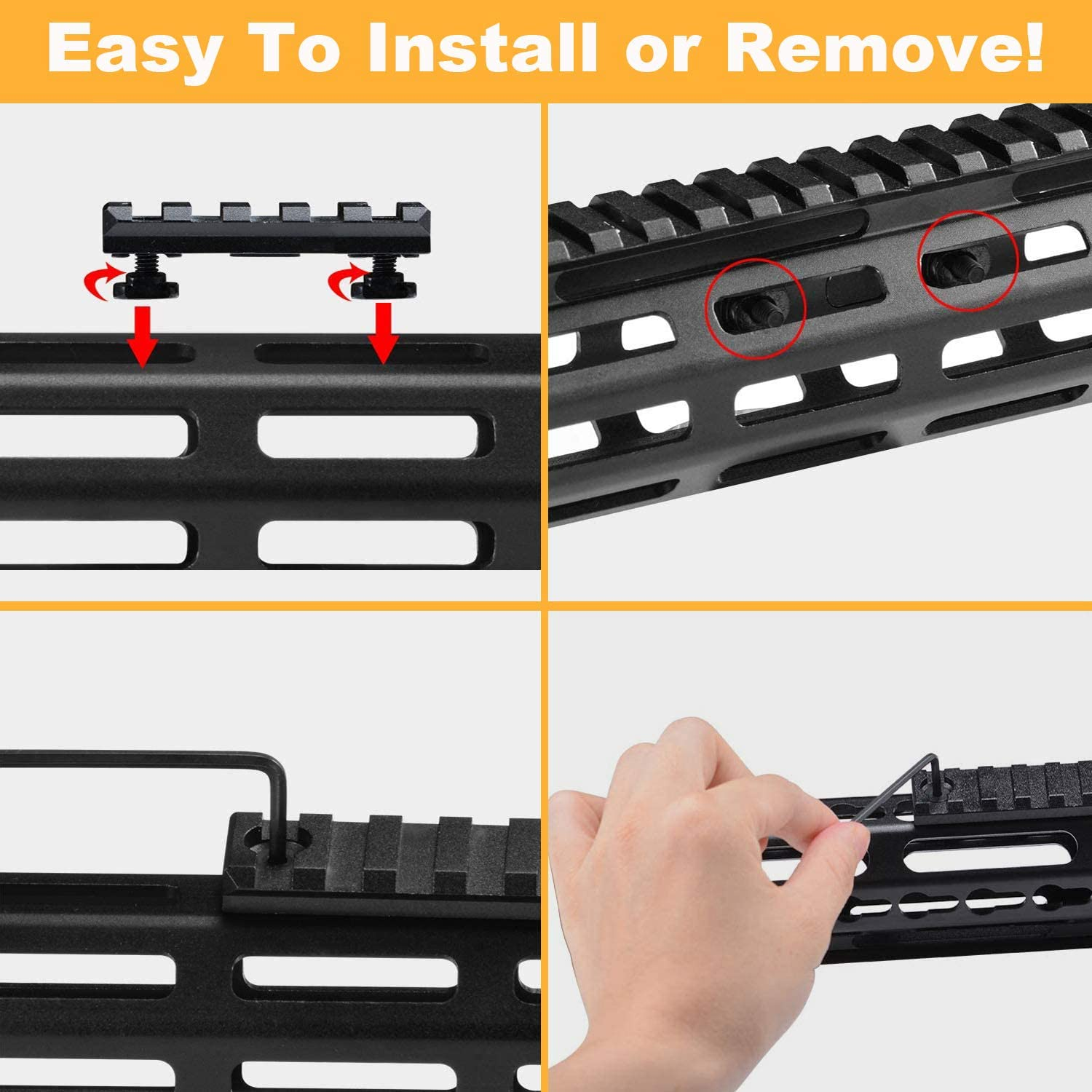 3 Allen Wrench 3 5 7 13 Slots Mlok Aluminum Picatinny Rails Section Adapter for M LOK Systems with 9 T-Nuts 9 Screws GOHIKING M-Lok Picatinny Rail 4 Pack