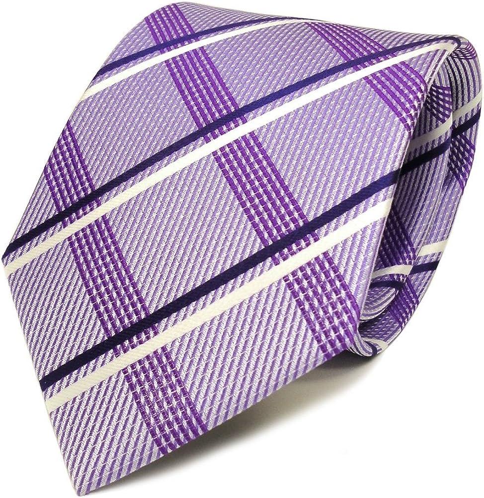 ohne Markenname Elegante Designer Seidenkrawatte lila flieder blau weiss silber kariert Krawatte Seide