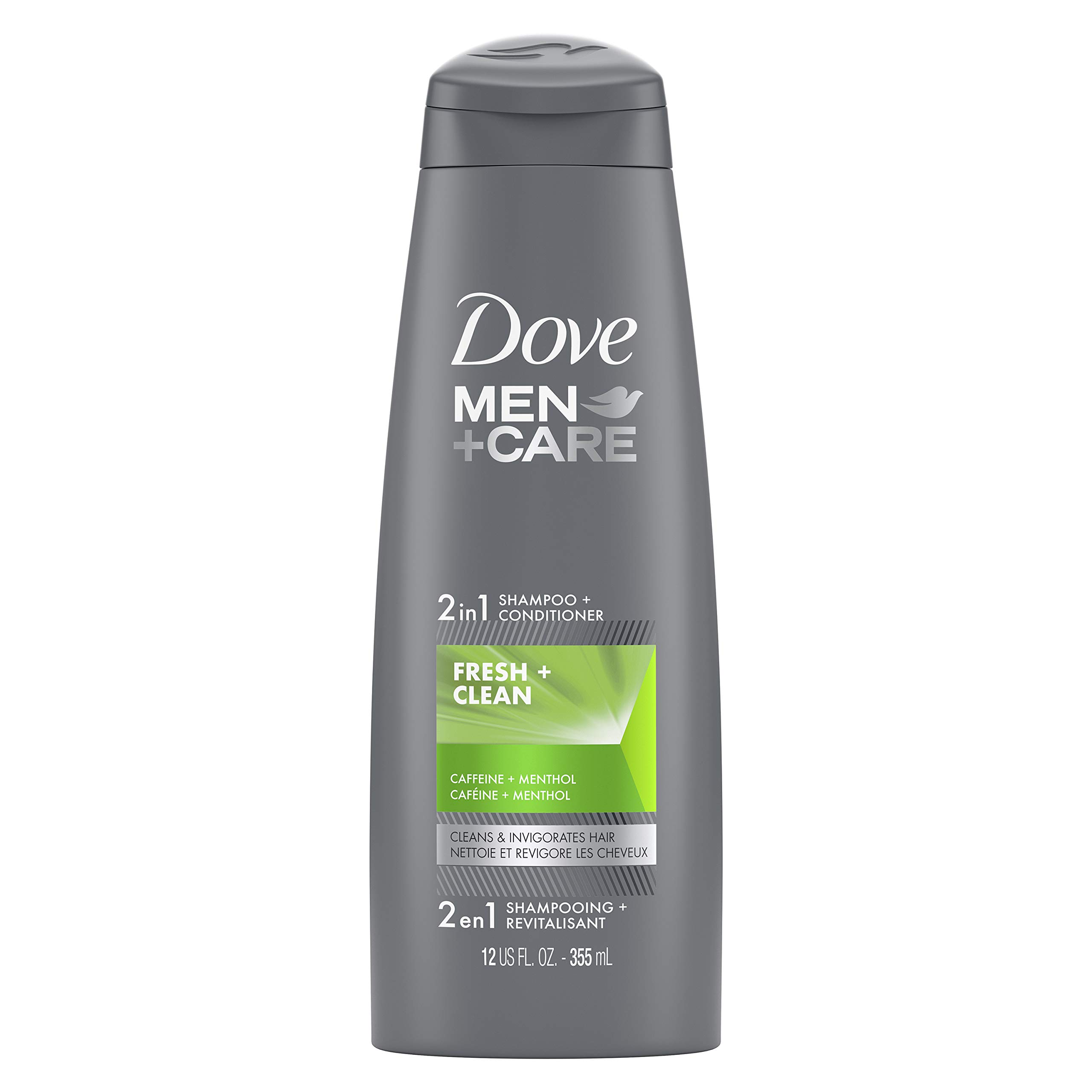 DOVE MEN + CARE Fortifying 2 in 1 Shampoo and Conditioner for Normal to Oily Hair Fresh and Clean with Caffeine Helps Strengthen and Nourish Hair 12 oz (26654)