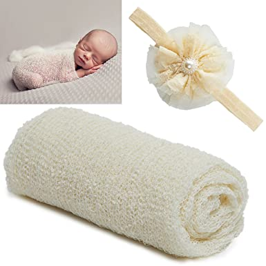 Uimagic newborn baby photography props long ripple wrap blanket and lace beads headband beige