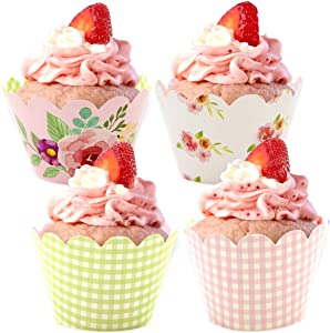36CPS Floral Cupcake Wrappers for Holiday Thanksgiving Christmas Birthday Party Cake Decoration