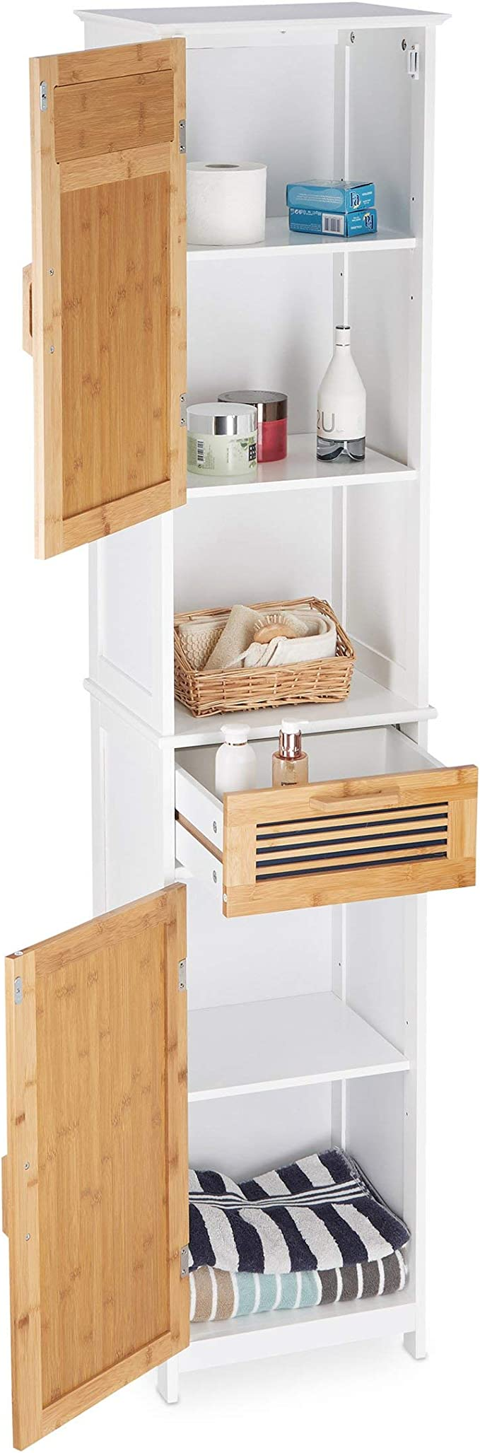 Amazon Com Relaxdays 10021846 Bathroom Cabinet 2 Doors 1 Drawer