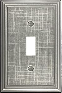 Single Toggle - Brushed Nickel Light Switch Cover Linen Cast Metal Decorative Outlet Cover