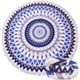 Tamengi Indian Mandala Beach Towel Large Round Throw with Tassels Ultra Soft Super Water Absorbent Multi-Purpose Towel 59 inch