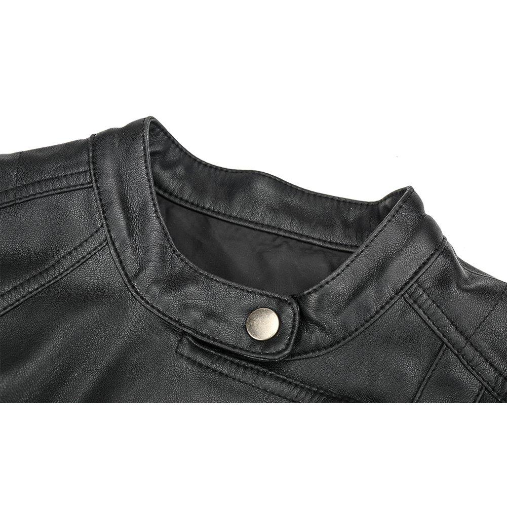 Newbestyle Hiver Veste en Cuir Femme Chaud Fourrure Zip Cuir Manteau Blouson Noir1