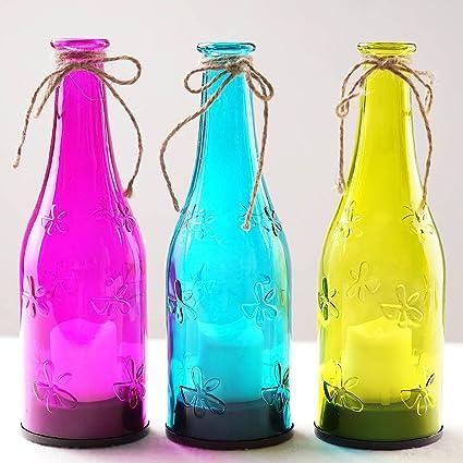Bright Zeal realista Botella de vino de luces LED multicolor con vela parpadeo (9 cm